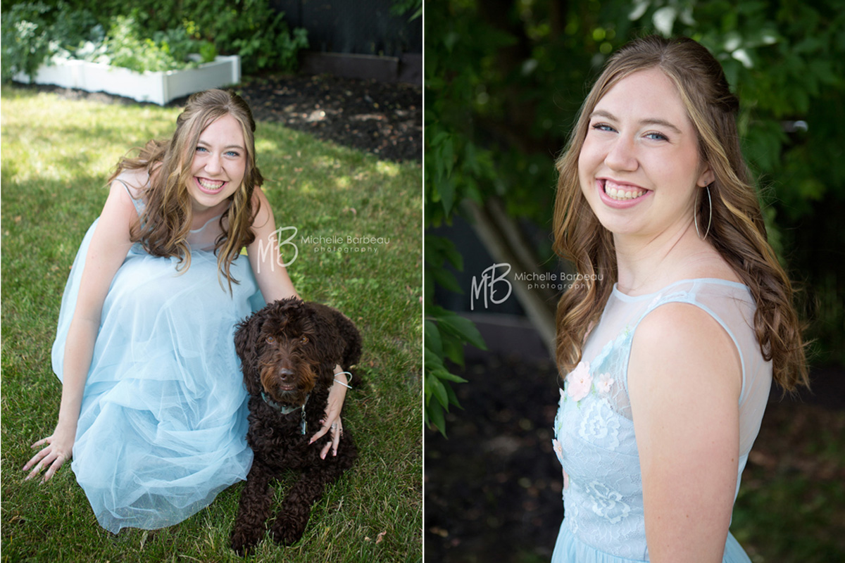 prom photos with pet dog